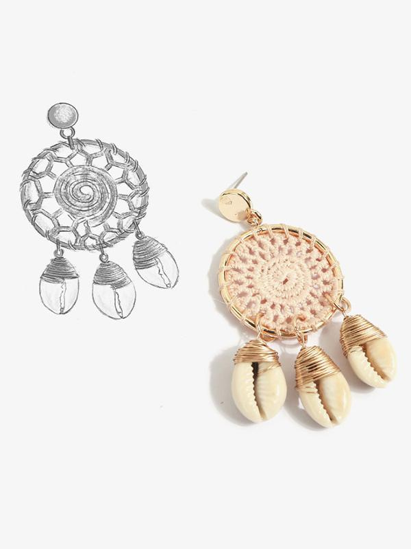 Rattan Shell Conch Hollow Earring Accessories