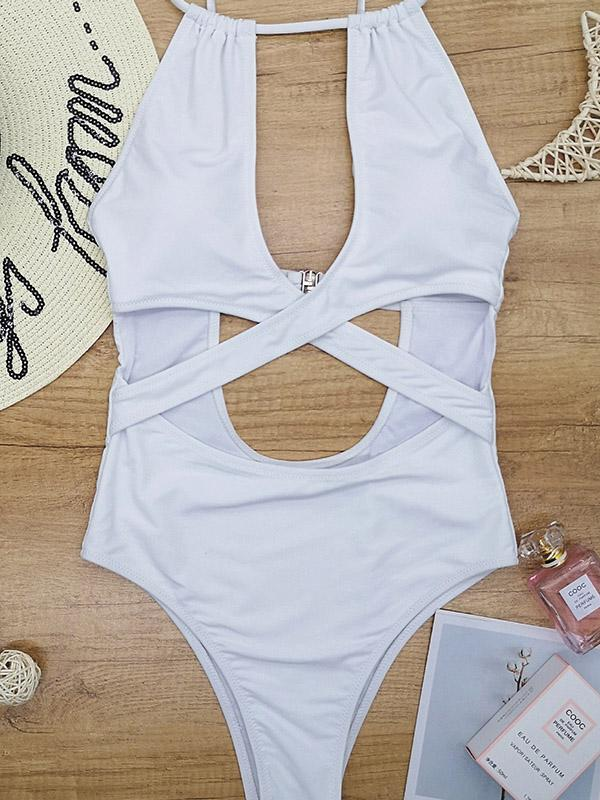 Sexy Cross Hollow One-Piece Swimwear