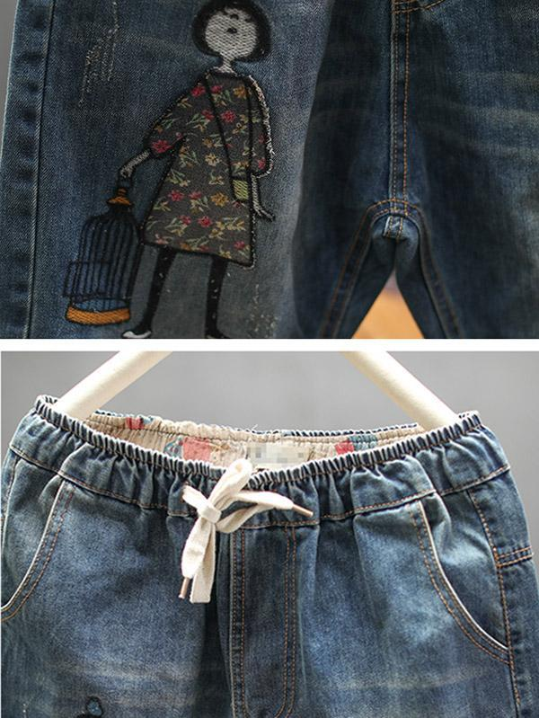 Embroidery Cartoon Shredded Jeans Pants