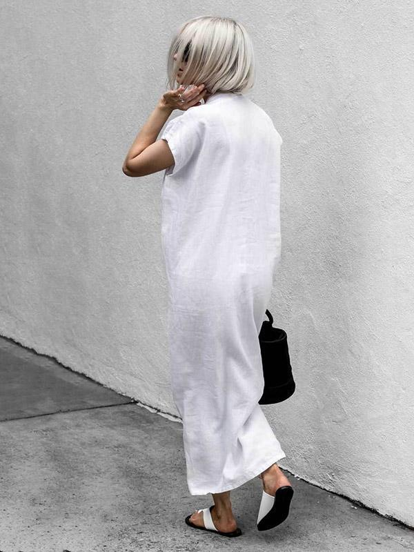 White Lace-up V-neck Simple Linen Dress