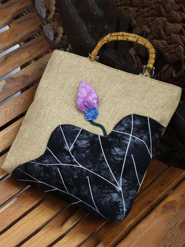 Retro Embroidered Zipper Tote Bag