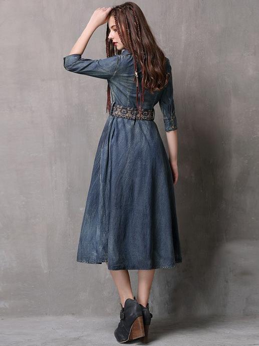 Vintage Embroidered Cropped Denim Dress