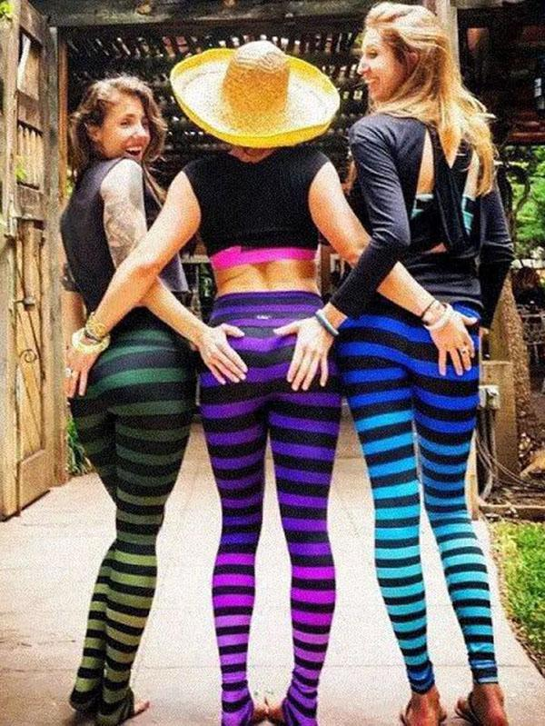 Striped Sports High Waisted Yoga Leggings