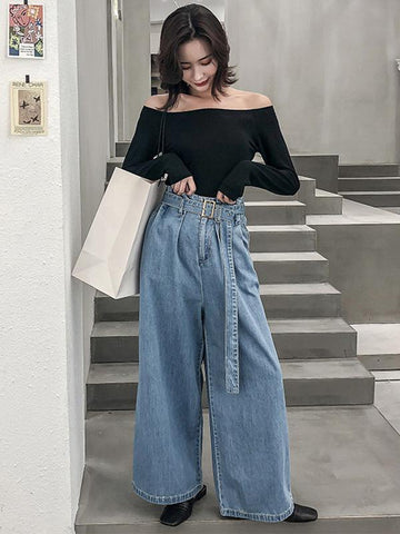 Comfortable Sexy Top&Super Loose Jeans Pants Suits