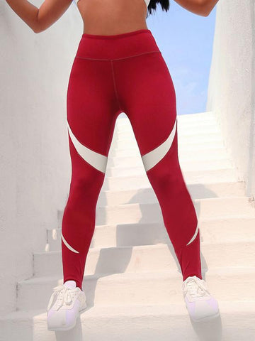 Two Tone Wide Waistband Gym Leggings