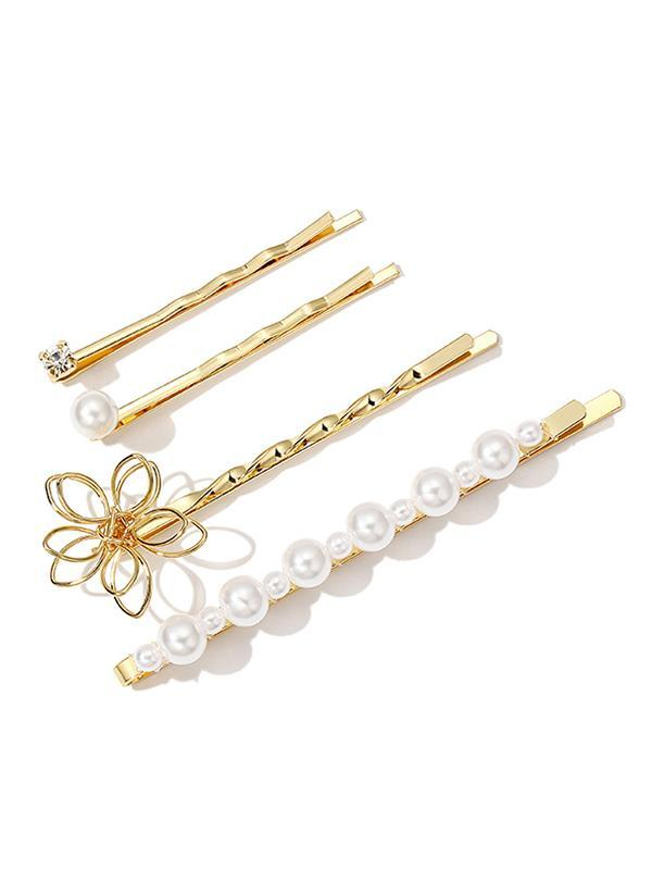 Vintage Flower Imitation Pearls Barrette Suit