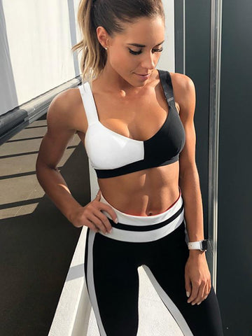 Two Tone Sports Bra And High Waist Leggings Yoga Suits