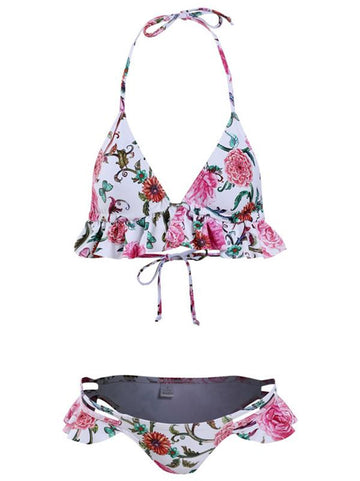 Ruffled Print Bikini Swimsuit