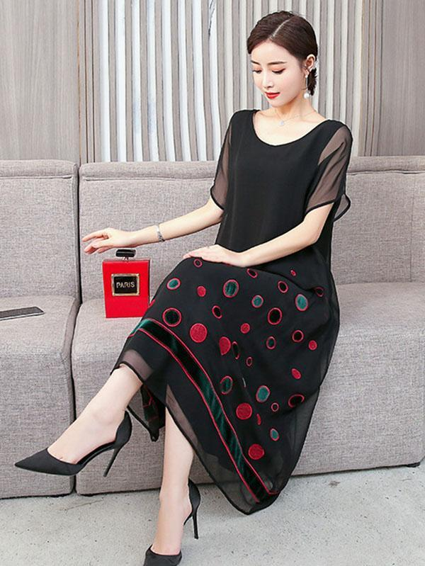 Retro Casual Light Embroidered Long Dress
