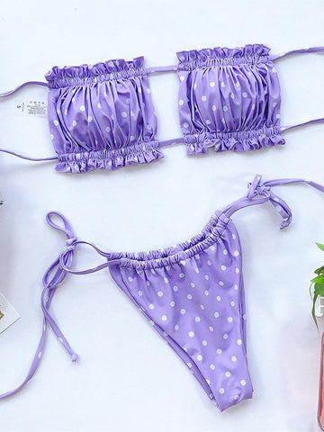 Sexy Fold Hollow Bikini Swimsuit