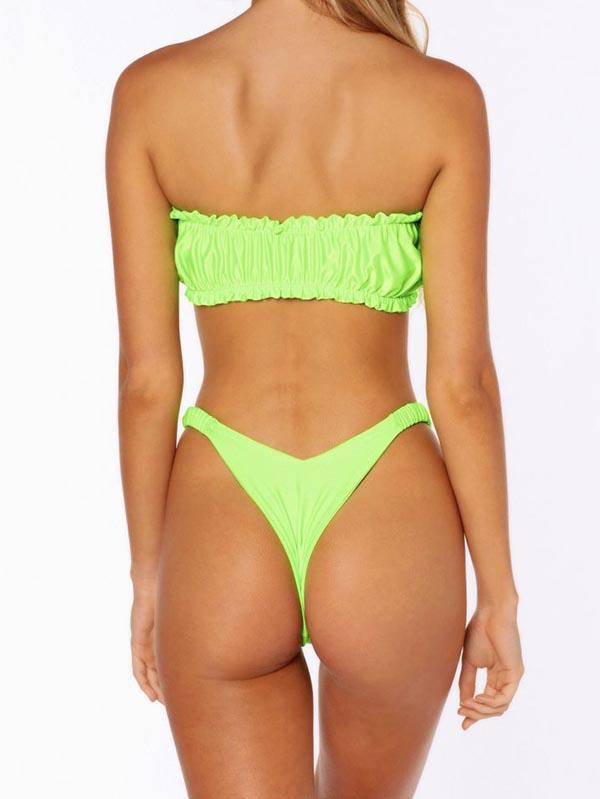 Sexy Ruffled Strapless Split Type Bikini Swimsuit