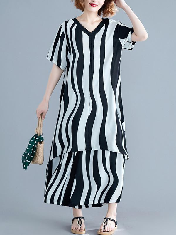 2019 Summer New Loose Oversize  Striped Suit