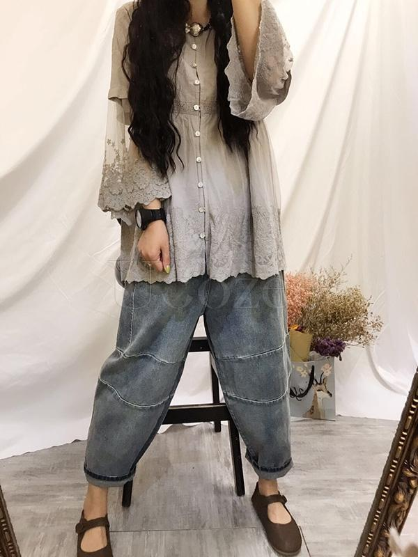 Retro Lace Embroidered Gauze Sleeves Shirt
