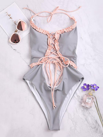 Falbala Lace-Up Backless One Piece Swimwear