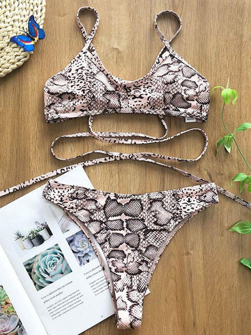Sexy Bandage Backless Snake Pattern Split Type Bikini Swimsuit
