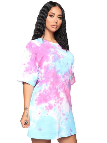 Tie Dye Loose Mini Dresses