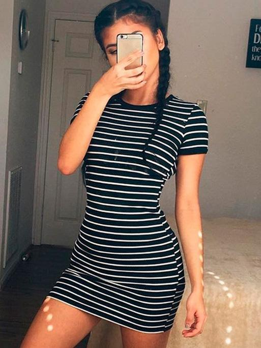 Striped Short-sleeved Mini Dress