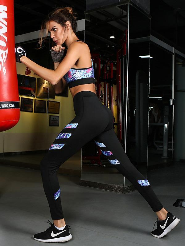 Printed Yoga Gym Bra And Leggings Suits