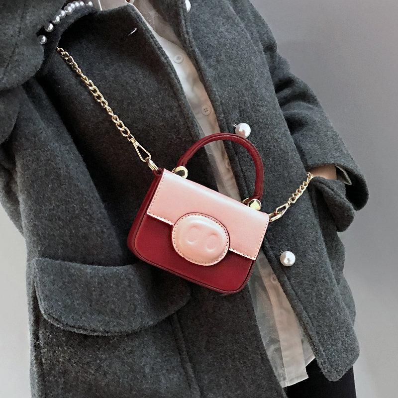 Women Cute Pig Pattern Bag Patchwork Chain Crossbody Bag