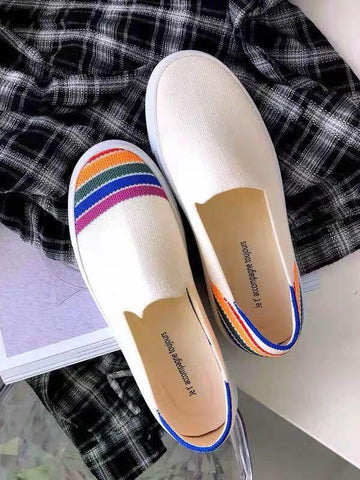 Rainbow Striped Print Casual Flat Shoes