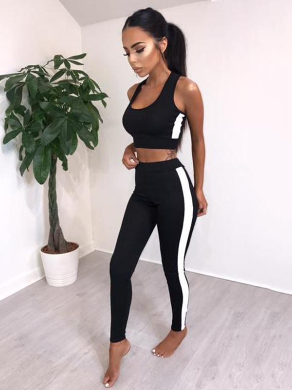 Sleeveless Contrast Trim Tanks And Leggings Suits