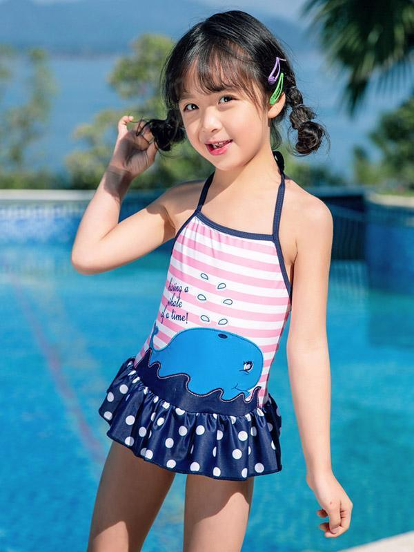 AONIHUA Stripes Dress One Piece Swimwear