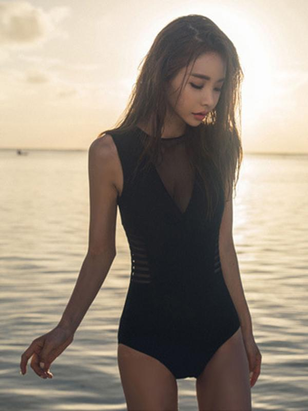 Tulle Black One-piece Swimsuit