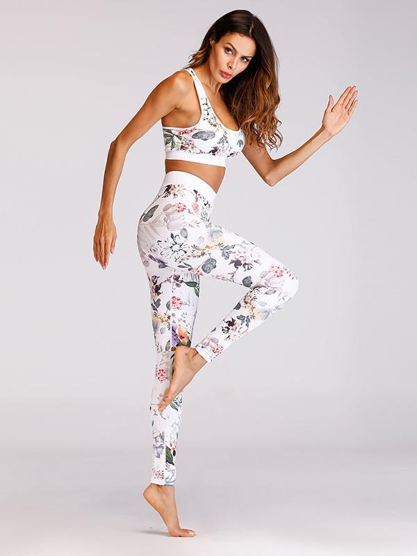 Printed Wrap Fashion Yoga Suits
