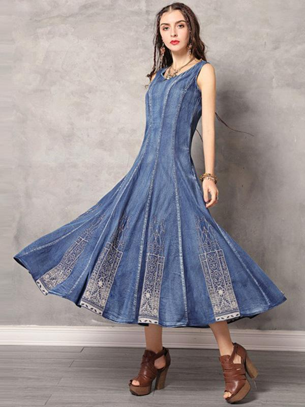 2019 Summer New Vintage Embroidery Denim Dress