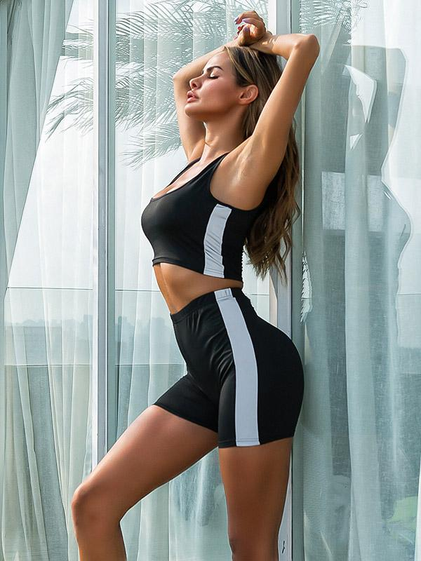 Sexy Waistcoat Reflect Light Yoga Suits