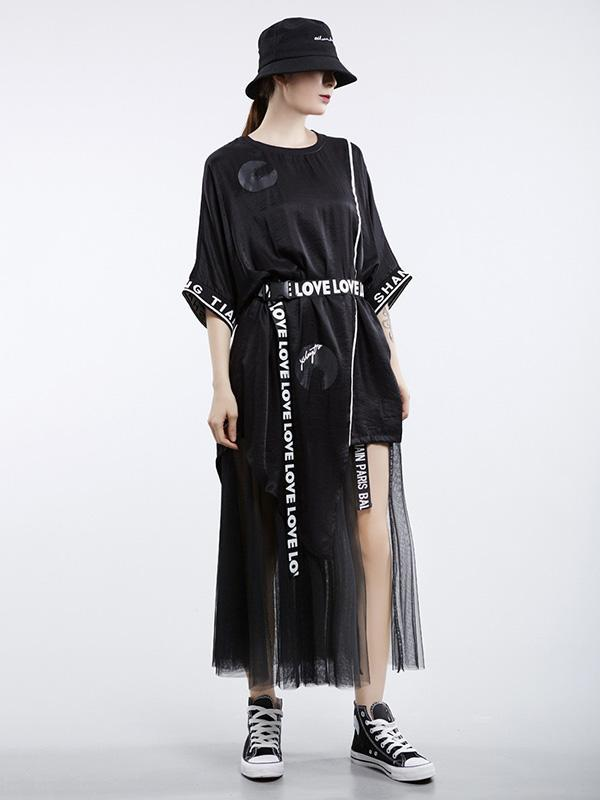 Vintage Oversize Printed Asymmetric Dress