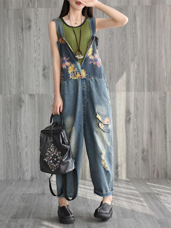 Retro Literary Printed Jumpsuit