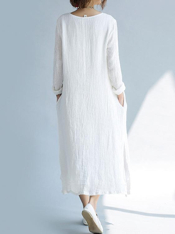 White Ramie Cotton Embroidered Long Dress