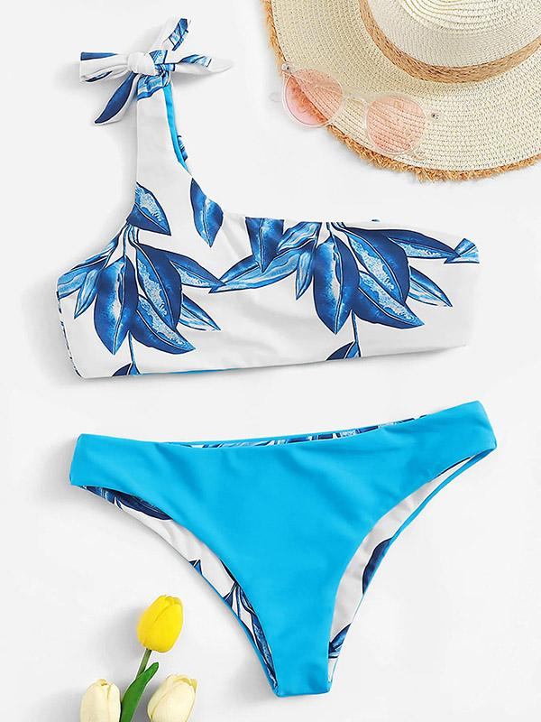 Sexy One-Shoulder Knotted Printing Split Type Bikini Swimsuit