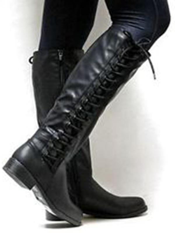 Fashion Solid Color Bandage Thigh-high Low-heel Boots Shoes