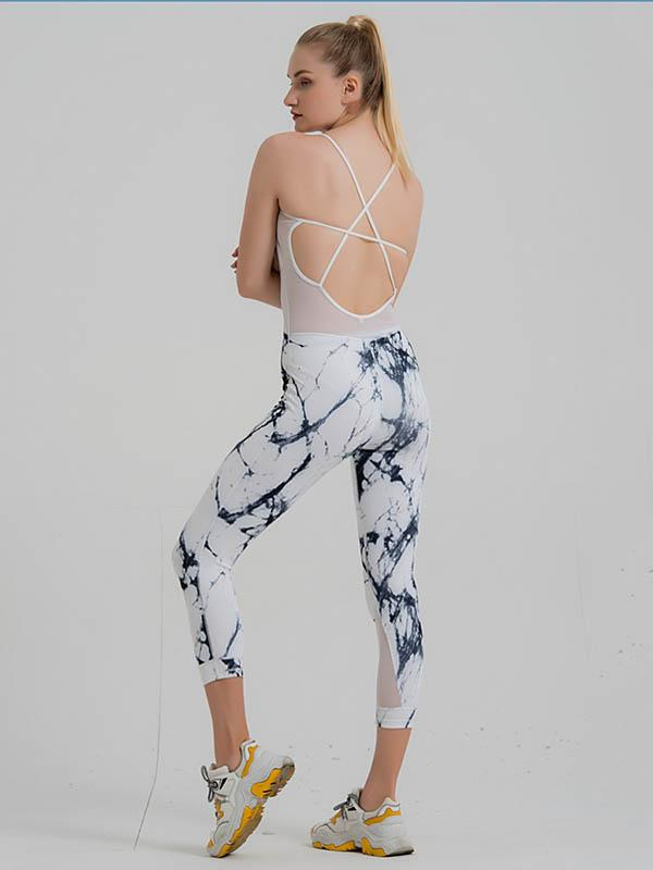 Sexy Printed Cross Strap Yoga Jumpsuits