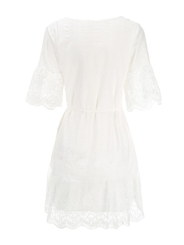 Embroidered Solid Lace V-neck Falbala Mini Dresses