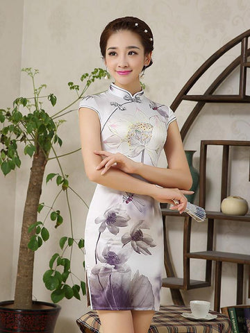 Flower Cap Sleeve Stand Neck Side Split Short Cheongsam