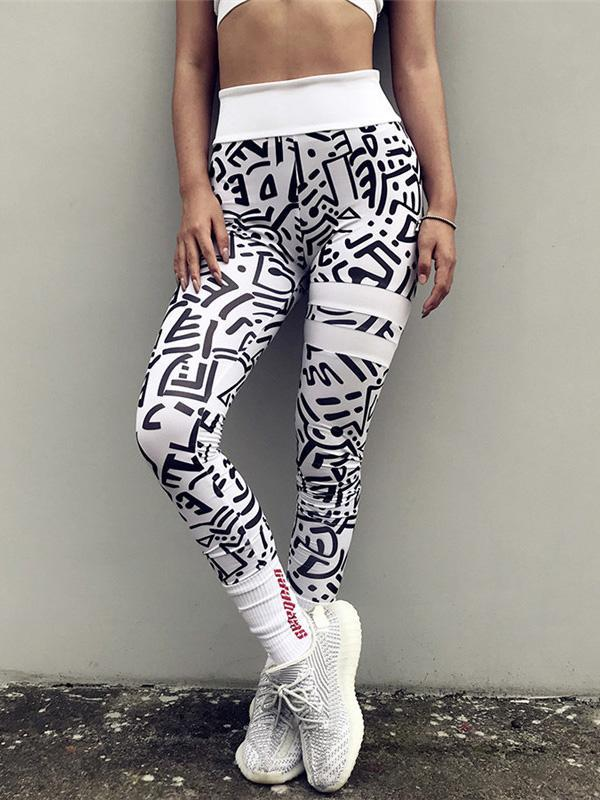 Racerback Printed Sleeveless Tanks And Leggings Suits