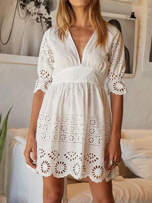 V-neck Hollow Embroidered Mini Dress