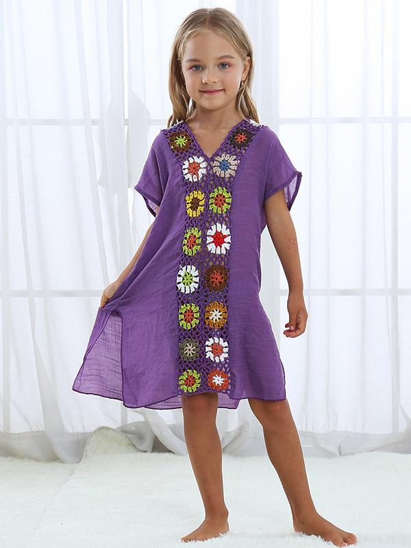 V-neck Split-joint Children Beach Mini Dresses