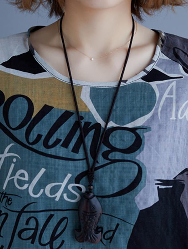 Vintage Printed Letter Round-neck T-Shirt