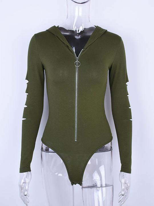 Sexy Zip-up Hooded Bodysuits