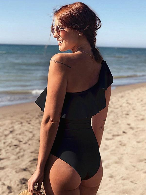 Falbala Single Shoulder Black One Piece Swimsuit