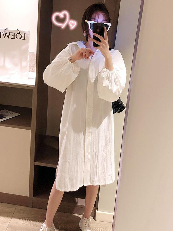 See-through Loose Solid Bloomers Shirt Mini Dresses