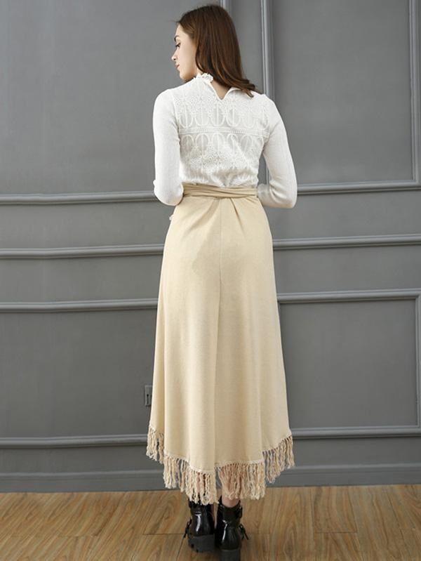 Apricot Asymmetry Bandage Skirt Bottoms