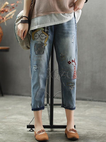 Casual Jean Embroidered Pants