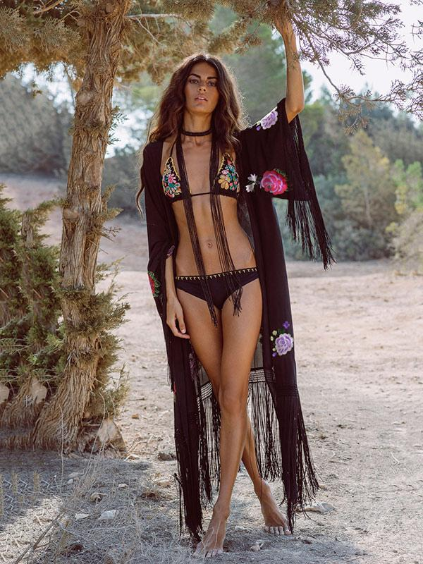 Tasseled Embroidered Cover-up Swimwear
