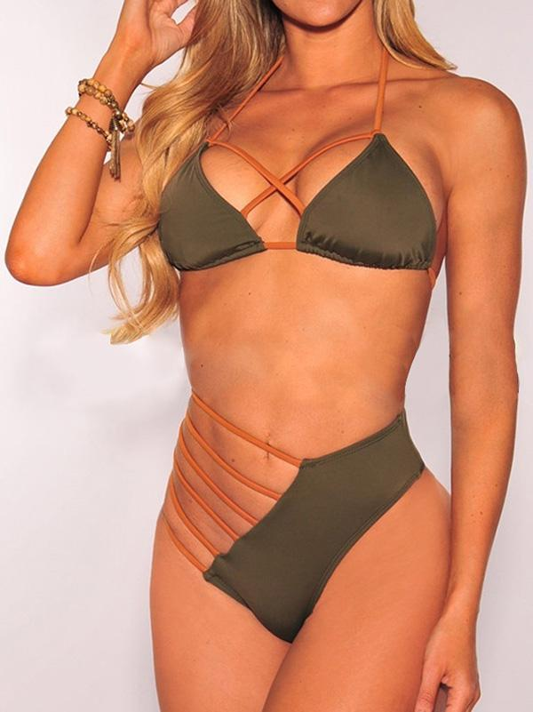 Scrunch Lace Up Halter Bikini Set