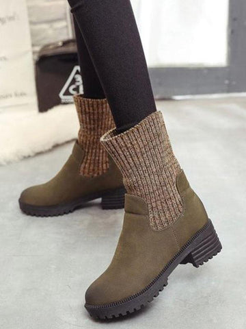 Foldable Knitted Cuff Martin Boots